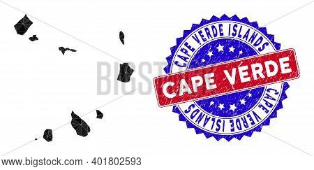 Cape Verde Islands Map Polygonal Mesh With Filled Triangles, And Textured Bicolor Stamp. Triangle Mo