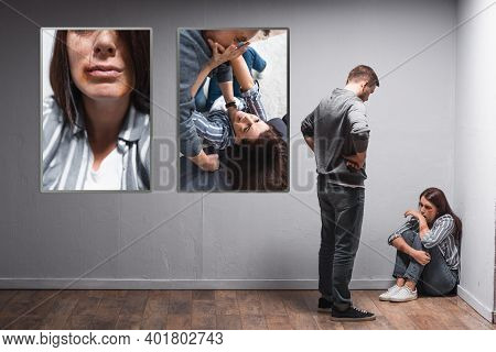 Looking At Wife With Bruises Near Pictures Of Domestic Violence On Wall