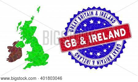 Great Britain And Ireland Map Polygonal Mesh With Filled Triangles, And Scratched Bicolor Watermark.