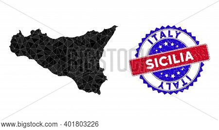 Sicilia Map Polygonal Mesh With Filled Triangles, And Textured Bicolor Stamp Seal. Triangle Mosaic S