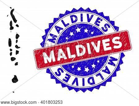 Maldives Map Polygonal Mesh With Filled Triangles, And Textured Bicolor Rubber Seal. Triangle Mosaic