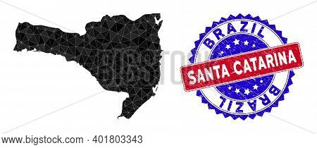 Santa Catarina State Map Polygonal Mesh With Filled Triangles, And Scratched Bicolor Stamp Seal. Tri