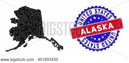 Alaska Map Polygonal Mesh With Filled Triangles, And Distress Bicolor Stamp. Triangle Mosaic Alaska