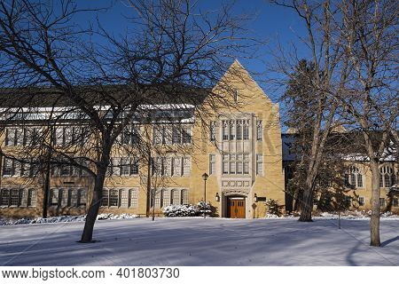 Entrance And Facade Of Historic University Building In Saint Paul Minnesota