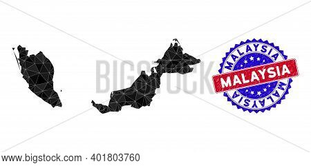 Malaysia Map Polygonal Mesh With Filled Triangles, And Scratched Bicolor Seal. Triangle Mosaic Malay