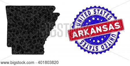 Arkansas State Map Polygonal Mesh With Filled Triangles, And Textured Bicolor Seal. Triangle Mosaic