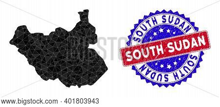 South Sudan Map Polygonal Mesh With Filled Triangles, And Scratched Bicolor Seal. Triangle Mosaic So