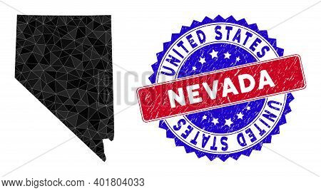 Nevada State Map Polygonal Mesh With Filled Triangles, And Unclean Bicolor Stamp Seal. Triangle Mosa