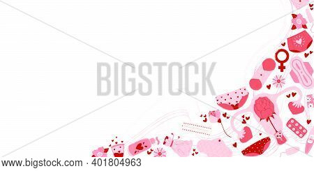Horizontal Vector Card With Feminine Hygiene Products With Flowers, Zero Waste Eco Menstrual Cup, Sa
