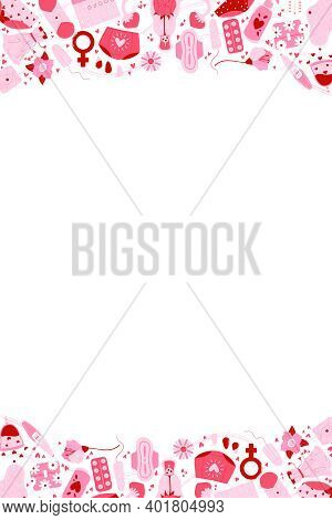 Vertical Vector Card With Feminine Hygiene Products With Flowers, Zero Waste Eco Menstrual Cup, Sani