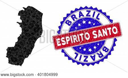 Espirito Santo State Map Polygonal Mesh With Filled Triangles, And Rubber Bicolor Stamp Print. Trian