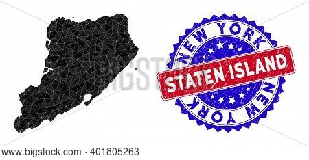 Staten Island Map Polygonal Mesh With Filled Triangles, And Rubber Bicolor Rubber Seal. Triangle Mos