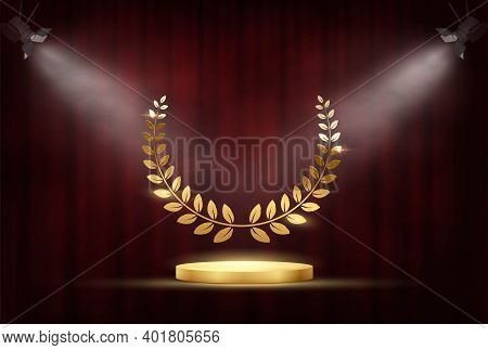 Golden Award Signs With Podium And Laurel Wreath Isolated On Red Waving Curtain Background Under Spo