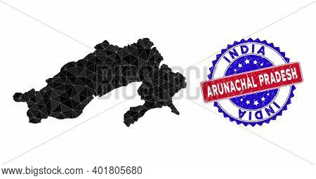 Arunachal Pradesh State Map Polygonal Mesh With Filled Triangles, And Distress Bicolor Stamp Seal. T