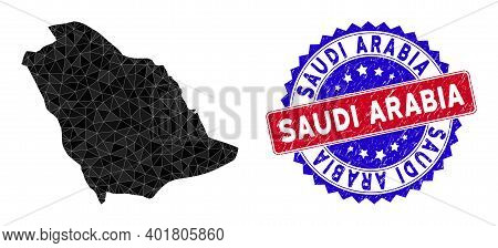 Saudi Arabia Map Polygonal Mesh With Filled Triangles, And Rubber Bicolor Rubber Seal. Triangle Mosa