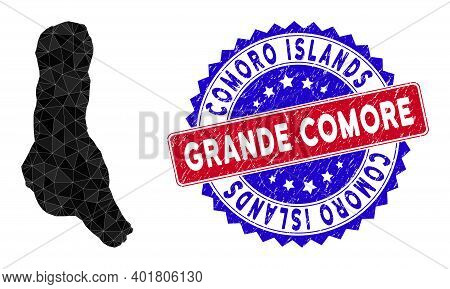 Grande Comore Island Map Polygonal Mesh With Filled Triangles, And Scratched Bicolor Stamp. Triangle