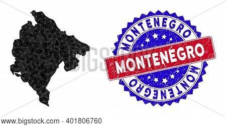 Montenegro Map Polygonal Mesh With Filled Triangles, And Scratched Bicolor Stamp Seal. Triangle Mosa