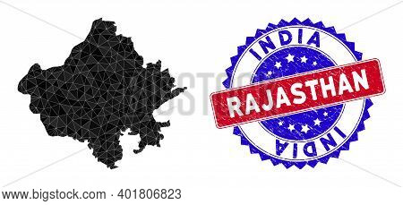Rajasthan State Map Polygonal Mesh With Filled Triangles, And Textured Bicolor Stamp Seal. Triangle
