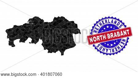 North Brabant Province Map Polygonal Mesh With Filled Triangles, And Scratched Bicolor Seal. Triangl