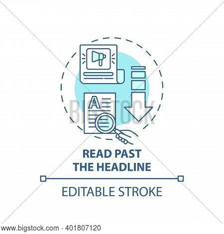 Reading Past Headline Concept Icon. Fake News Checking Tip Idea Thin Line Illustration. Reaching Sna