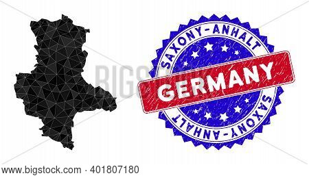 Saxony-anhalt Land Map Polygonal Mesh With Filled Triangles, And Rubber Bicolor Rubber Seal. Triangl
