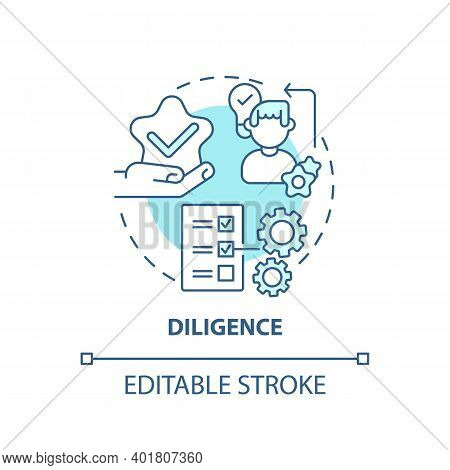 Diligence Concept Icon. Journalistic Ethics Standards Idea Thin Line Illustration. Quality-conscious