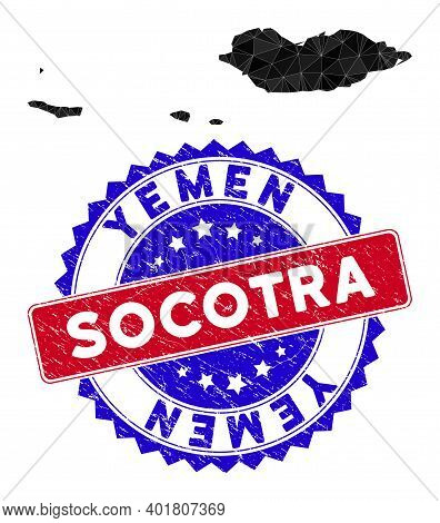 Socotra Archipelago Map Polygonal Mesh With Filled Triangles, And Scratched Bicolor Seal. Triangle M