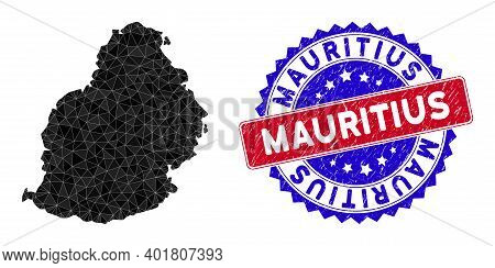 Mauritius Island Map Polygonal Mesh With Filled Triangles, And Rubber Bicolor Watermark. Triangle Mo