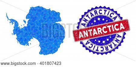 Antarctica Map Polygonal Mesh With Filled Triangles, And Grunge Bicolor Seal. Triangle Mosaic Antarc