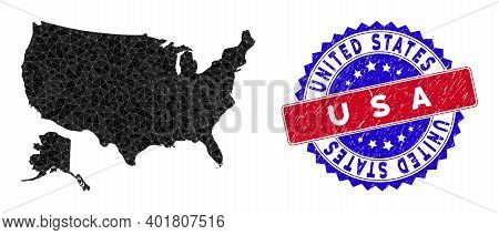 Usa With Alaska Map Polygonal Mesh With Filled Triangles, And Rough Bicolor Stamp Print. Triangle Mo