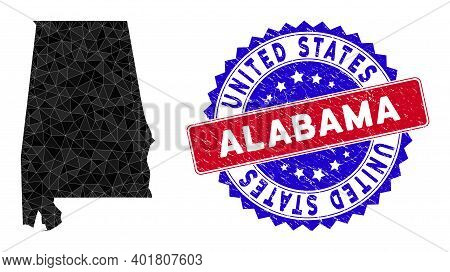 Alabama State Map Polygonal Mesh With Filled Triangles, And Unclean Bicolor Stamp Imitation. Triangl