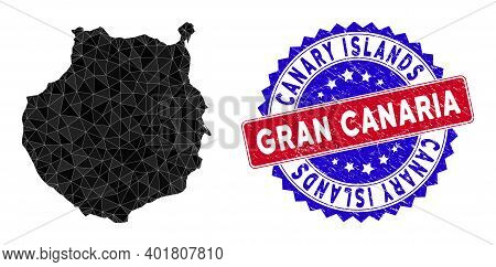 Gran Canaria Map Polygonal Mesh With Filled Triangles, And Rough Bicolor Stamp Seal. Triangle Mosaic