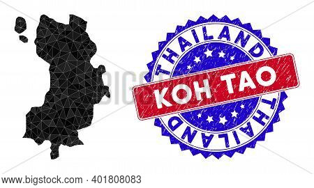 Koh Tao Thai Island Map Polygonal Mesh With Filled Triangles, And Scratched Bicolor Rubber Seal. Tri