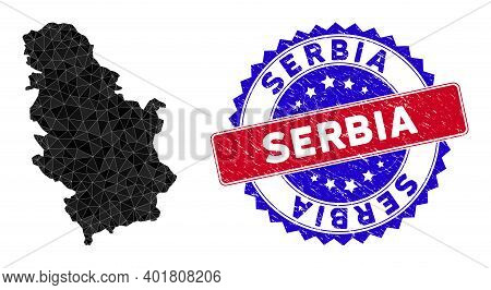 Serbia Map Polygonal Mesh With Filled Triangles, And Rubber Bicolor Stamp Seal. Triangle Mosaic Serb