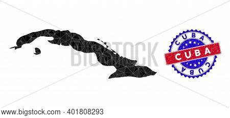 Cuba Map Polygonal Mesh With Filled Triangles, And Rubber Bicolor Seal. Triangle Mosaic Cuba Map Wit