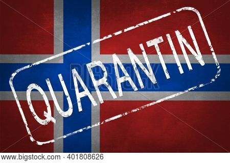 The Stamp Quarantin On The Background Of The Flag Of Norway. Quarantine During The Covid-19 Coronavi