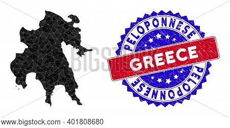 Peloponnese Peninsula Map Polygonal Mesh With Filled Triangles, And Grunge Bicolor Stamp Seal. Trian