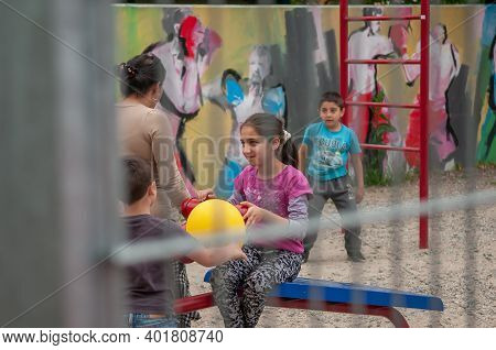 Brno, Czech Republic. 06-11-2016. Children Attending A Festival Of Roma People (gypsies)in Brno Atte