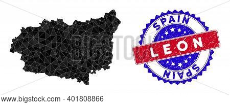 Leon Province Map Polygonal Mesh With Filled Triangles, And Textured Bicolor Rubber Seal. Triangle M