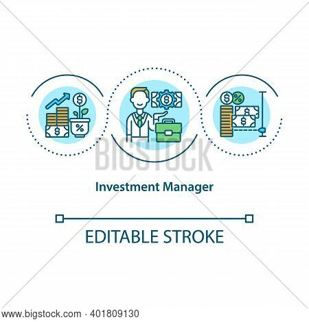 Investment Manager Concept Icon. Financial Adviser. Increase Income. Fund Planning. Asset Management