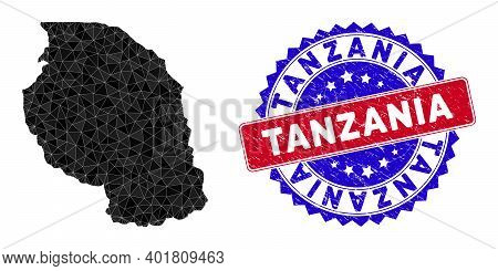 Tanzania Map Polygonal Mesh With Filled Triangles, And Rough Bicolor Rubber Seal. Triangle Mosaic Ta