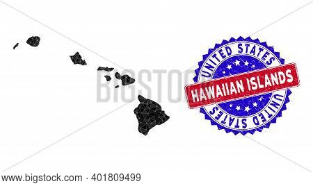 Hawaiian Islands Map Polygonal Mesh With Filled Triangles, And Textured Bicolor Stamp. Triangle Mosa