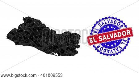 El Salvador Map Polygonal Mesh With Filled Triangles, And Rubber Bicolor Rubber Seal. Triangle Mosai