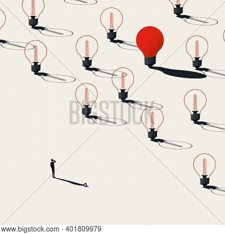 Business Creativity, Finding New Ideas And Innovation In Technology, Vector Concept. Symbol Of Inven