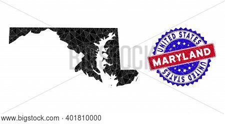 Maryland State Map Polygonal Mesh With Filled Triangles, And Scratched Bicolor Seal. Triangle Mosaic