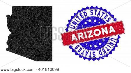 Arizona State Map Polygonal Mesh With Filled Triangles, And Textured Bicolor Stamp Seal. Triangle Mo