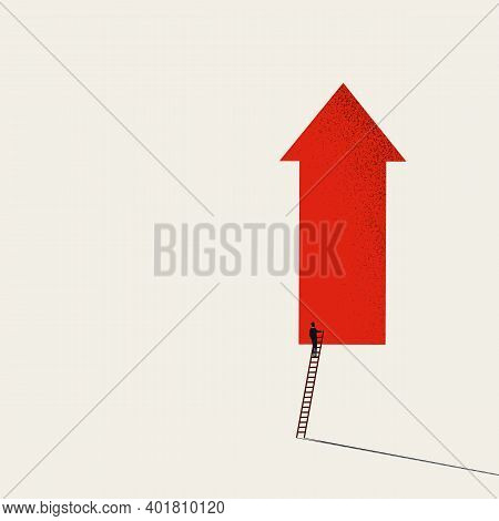 Business Growth Vector Concept With Upward Arrow Symbol And Minimal Art Style Design. Symbol Of Succ