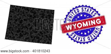 Wyoming State Map Polygonal Mesh With Filled Triangles, And Distress Bicolor Stamp Seal. Triangle Mo