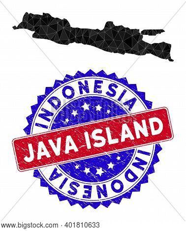 Java Island Map Polygonal Mesh With Filled Triangles, And Rough Bicolor Stamp Print. Triangle Mosaic