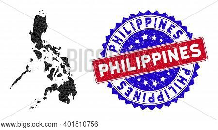 Philippines Map Polygonal Mesh With Filled Triangles, And Distress Bicolor Watermark. Triangle Mosai